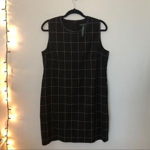 black and white ralph lauren grid patterned dress